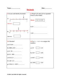 Decimals-Quiz from Cool Math on TeachersNotebook.com -  (1 page)  - 6 th Grade- Decimals
