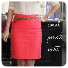 Lovely coral pencil skirt Looks never worn, just a little wrinkled. Gorgeous color and very versatile shape. Mossimo Supply Co. Skirts Pencil