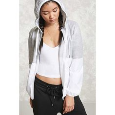 Forever21 Heathered-Panel Windbreaker ($23) ❤ liked on Polyvore featuring activewear, activewear jackets, forever 21 and forever 21 activewear