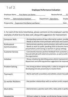 Image result for employee performance evaluation form free ...