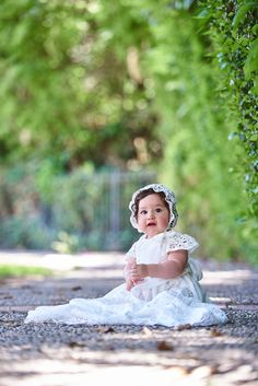 Grace Christening Gown & Bonnet by Baby Beau & Belle  |  Lace Heirloom Christening Gowns