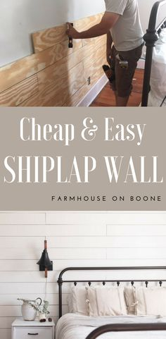 DIY shiplap wall cheap and easy diy shiplap tutorial with plywood #shiplap #diyproject #diywoodcrafts #tutorial #farmhousestyle #farmhousebedroom #farmhouseonboone #farmhousedecorating
