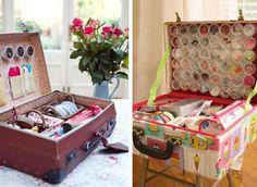 Organizzatore per materiale di cucito creato con il riciclo delle valigie…