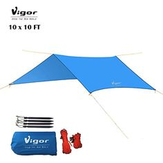 Vigor WaterResistant Lightweight Rainfly 10x10 ft Rain Fly Large Tent Tarp for Camping Blue * Learn more by visiting the image link.