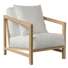 Holt Armchair: Contemporary Reclaimed Wood and Timber with White Linen Cushions | Urban Couture - Designer Homewares & Furniture Online