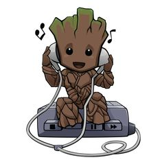 Groot Free Png Image - Baby Groot With Walkman is a free transparent png image. Search and find more on Vippng. Baby Avengers, Avengers Cartoon, Marvel Cartoons, Marvel Comics Superheroes, Marvel Characters, Marvel Drawings, Cartoon Drawings, Cute Drawings, Baby Groot Drawing