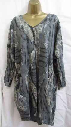 6d60eee23fa09 NEW Lagenlook GREY V NECK ANIMAL PRINT Tunic Top ONE SIZE FITS 16 18 20