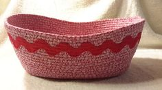 Fabric Coiled Basket by GrandmasBsmntCrafts on Etsy