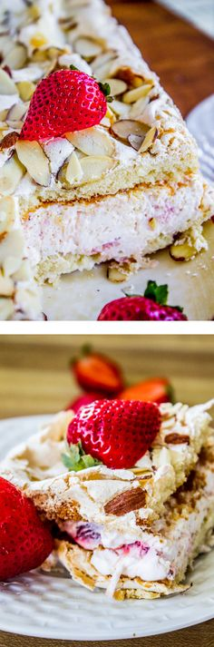 Strawberry Pineapple Meringue Cake from The Food Charlatan. This is the perfect spring dessert! Thin moist cake topped with fluffy meringue and crunchy almonds, layered with pineapple and strawberry whipped cream!