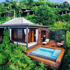 Tropical architecture. Small house in Antigua & Barbuda.                                                                                                                                                      More