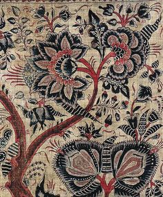 Floral pattern /// painted mordant-dyed and painted cotton Coromandel Coast palampore made for the Indonesian market. Collection of Thomas Murray, California. Published in John Guy's book, Woven Cargoes: Indian Textiles in the East. Textile Fabrics, Textile Prints, Textile Patterns, Textile Art, Print Patterns, Cotton Textile, Indian Textiles, Vintage Textiles, Indian Fabric