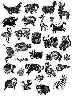 Stamp Stories on Behance ini lucu deh model begiini bisa dijadiin pattern Graphic Illustration, Graphic Art, Handmade Stamps, Linoprint, Posca, Tampons, Linocut Prints, Woodblock Print, Animal Design