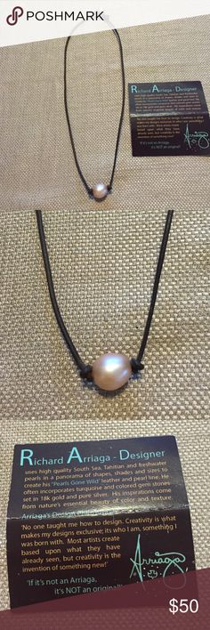 "Leather and pearl necklace Richard Arriaga Designer uses South Sea Tahitian and freshwater pearls and brown leather to make this ""pearls gone wild"" necklace.  Comes with tag to show the authenticity.  Necklace is 7 1/2"" long with pearl on bottom and pearl at top the close. richard arriaga designer Jewelry Necklaces"