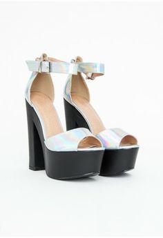 Missguided - Melisa Holographic Platform Heels