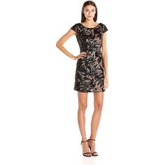 Adrianna Papell Women's Sequin Mesh Sheath Cocktail Dress with Cap... ($189) ❤ liked on Polyvore featuring dresses, holiday cocktail dresses, sequin cocktail dresses, special occasion dresses, white sheath dress and evening dresses