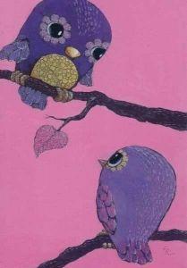 Violetit pöllöt 0,80€ postcardgarden.com Love Valentines, Valentine Day Cards, Love Birds, Bird Feathers, Tweety, Dinosaur Stuffed Animal, Cute Animals, Images, Sari