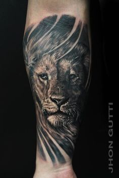 black and grey lion and cross tattoos - Google Search