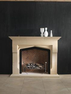An imposing stone Tudor mantelpiece of unusual form incorporating heavy jambs which are shaped to project forwards at the midpoint. Shown here in Bianco Avorio limestone. Living Room Mantle, Living Room Decor, Living Spaces, Fireplaces Uk, Kitchen Dining Living, Dream House Interior, Stove Fireplace, Tudor House, Fireplace Surrounds