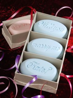 """The perfect Valentine's Day surprise - our trio bar box of scented soap engraved with """"Marry Me"""" and your ladies name!"""