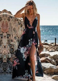 Sexy Beach Dress Deep V Sling Chiffon Floral Dress #happy #cute #life #style #fashion #hashtag #love #amazing #beautiful #design