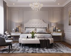 Nightstands, beds, side tables, cabinets or armchairs are some of the luxury bedroom furniture tips that you can find. Every detail matters when we are decorating our master bedroom, right? Grey Bedroom Decor, Luxury Bedroom Furniture, Luxury Bedroom Design, Master Bedroom Design, Cozy Bedroom, Interior Design, Master Suite, Taupe Bedroom, Bedroom Green
