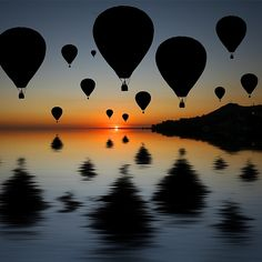 hot air balloons, sunset