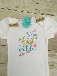 Girls first birthday bodysuit and matching by BabyRuthBoutique