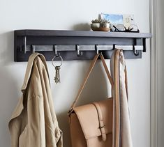 Pottery Barn Duncan Bronze Shelf With Hooks Metal Shelves, Wall Shelves, Natural Shelves, Wall Shelf With Hooks, Wall Candle Holders, Smart Storage, Home Organization, Storage Solutions, Wardrobe Rack