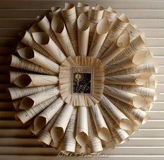 VINTAGE IVORY FRENCH TEXT PAPER WREATH by SimpleJoysPaperie.....make these with all my old book pages.