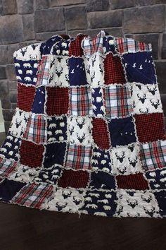Rag Quilt Cabin Quilt Plaid Deer Throw Bear Quilt by RozonsRags Rag Quilt Patterns, Sewing Patterns, Quilting Projects, Sewing Projects, Quilting Ideas, Flannel Rag Quilts, Denim Quilts, Quilt Inspiration, Quilt Tutorials
