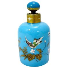 French 19th Century Blue Opaline Glass Scent Bottle decorated with a Bird & Flowers. Circa 1860.