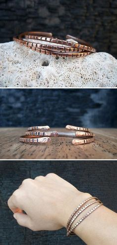 A set of salvaged-copper cuffs stacks up nicely. #etsyjewelry