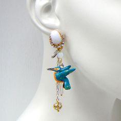 Deluxe Hummingbird Charm Earrings One Pair @Noveltylane.com