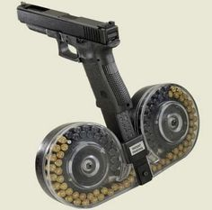 Glock with optional drum magazine - Just two drums? You're gonna need like eight at least. Weapons Guns, Guns And Ammo, Fallout Weapons, Zombie Weapons, Rifles, Glock 9mm, Drum Magazine, By Any Means Necessary, Fire Powers