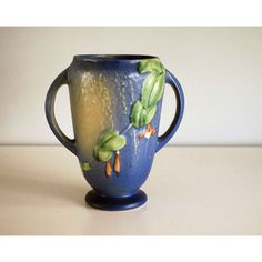 Roseville Fuschia Vase 893-6, 1930s Art Pottery, Blue Yellow Vase,... (€130) ❤ liked on Polyvore featuring home, home decor, vases, yellow home decor, double handled vase, yellow vase, blue vase and yellow home accessories