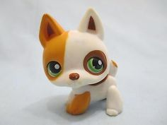 Littlest Pet Shop #127 Orange White & Brown German Shepherd Puppy Dog w/ magnet.