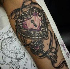 Heart key and lock tattoos
