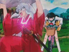 """""""Inuyasha"""" (.gif) - Inuyasha and Kagome. """"SIT!SIT!SIT!SIT!SIT!!"""""""