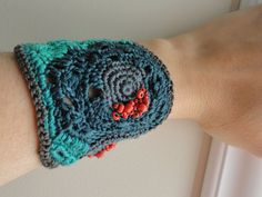 Gray Emerald and Coral Super Soft Cotton Freeform by anadiazarte