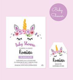 Duo de diseño de invitación + tarjeta de agradecimiento para baby shower. Temática Unicornio. Escribe los datos de tu evento y nosotros lo personalizamos y te enviamos los archivos a tu email.