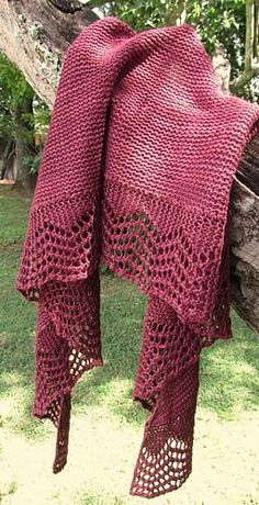 A quick and easy crescent shawl with a simple lace edging and garter stitch body.