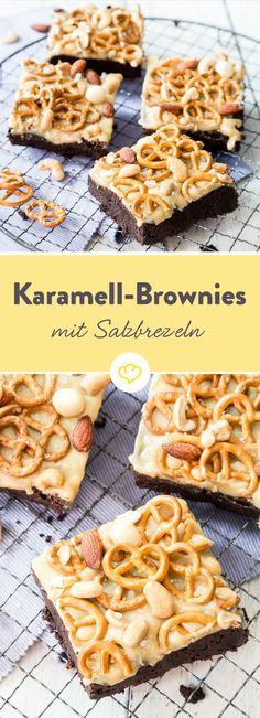 Wenn süß auf salzig trifft, Zucker auf Salz und Schokolade auf Brezeln, dann hat sich dieser Monster-Brownie auf deiner Kuchengabel verirrt. Und weil uns das süß-salzige Chaos noch nicht reicht, kommt noch ein bisschen Fleur de Sel obendrauf.