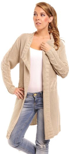 Glamour Empire Women's Knitted Long Sleeve Warm Waterfall Cardigan 326 at Amazon Women's Clothing store: $23.99