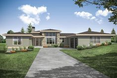 Contemporary house plan features an open floor plan, den, an an owners' suite with a walk-in shower.