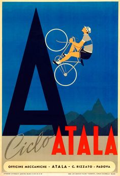 Atala Bicycle Poster by BicyclePosters on Etsy, $29.00 cycling motivation, cycling posters, cycling, cycling quotes, classic cycling
