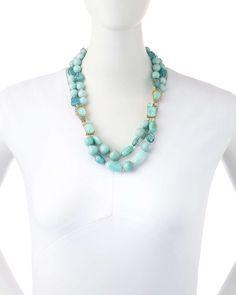 Gilded Muse d'Ore Blue Sponge Bead Necklace