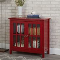 Shop for Simple Living Portland Glass Door Cabinet. Get free delivery On EVERYTHING* Overstock - Your Online Furniture Shop! Glass Front Cabinets, Glass Cabinet Doors, Wood Cabinets, Glass Doors, Glass Shelves, China Cabinets, Entryway Storage Cabinet, Entryway Console, Antique White Cabinets