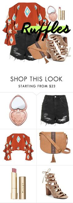 """""""SoHo Boho"""" by chelsofly ❤ liked on Polyvore featuring Too Faced Cosmetics, Topshop, Mochi, T-shirt & Jeans, Stila, Franco Sarto, Spring, ruffles, contestentry and southwest"""
