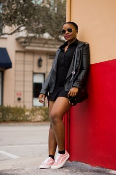 b3838fb1e85547 How to wear pink vans outfit with all black romper and leather jacket