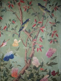 Chinoiserie 5 Newer Older Hand-painted Chinese wallpaper at Abbortsford House Chinoiserie Wallpaper, Chinoiserie Chic, Fabric Wallpaper, Wall Wallpaper, Vintage Bird Wallpaper, Green Floral Wallpaper, Parrot Wallpaper, De Gournay Wallpaper, French Wallpaper